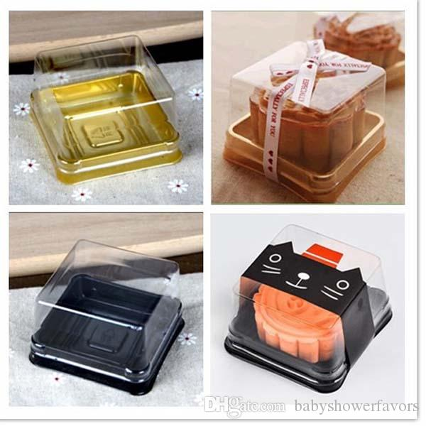 Новые поступления-50 шт.=25 компл. 6.8*6.8*4 см BlackGold Нижний мини размер пластиковые торт коробка кекс контейнер свадьба пользу коробки поставки
