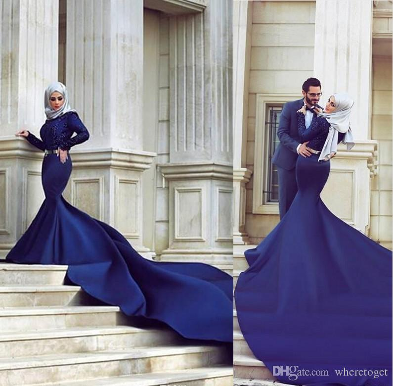 Muslim Navy Blue Wedding Dresses Jewel Neck Long Sleeve Lace Appliques Beading Satin Court Train Bridal Gown 2019 Custom Plus Size Wedding Dresses For