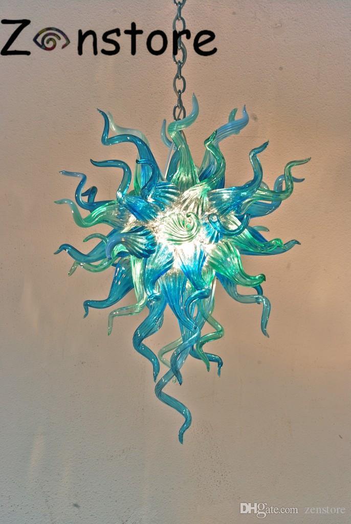 Причудливый голубой зеленый небольшой рот люстры дунул боросиликатное муранское стекло искусство новый стиль домашнего освещения люстры