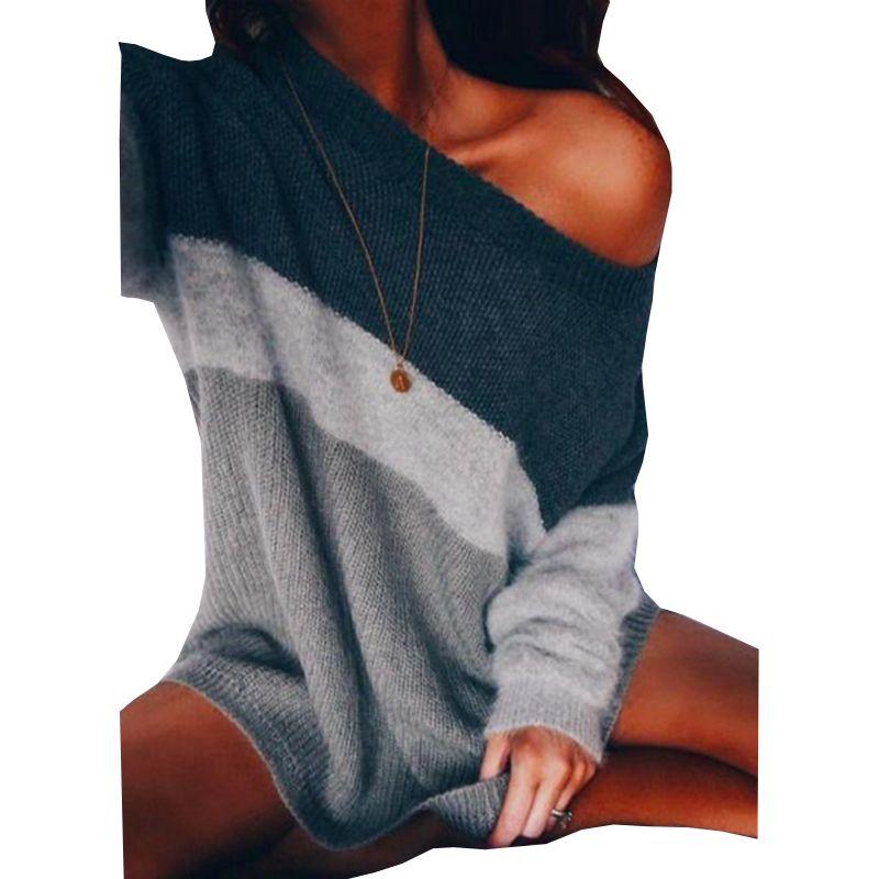 pullover all'ingrosso 2016 donne di autunno nuove maglione a strisce manicotto pieno casuale collo barra fuori dal maglione spalla
