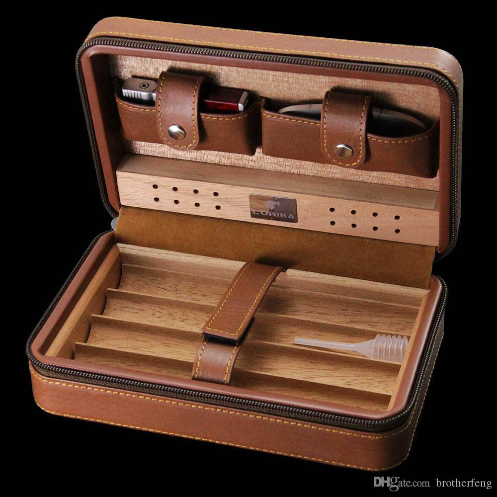 Latest version! COHIBA Brown Leather 4 Count Cedar Cigar Case Cigarette Humidor with Cutter & Lighter with Black Gift Box