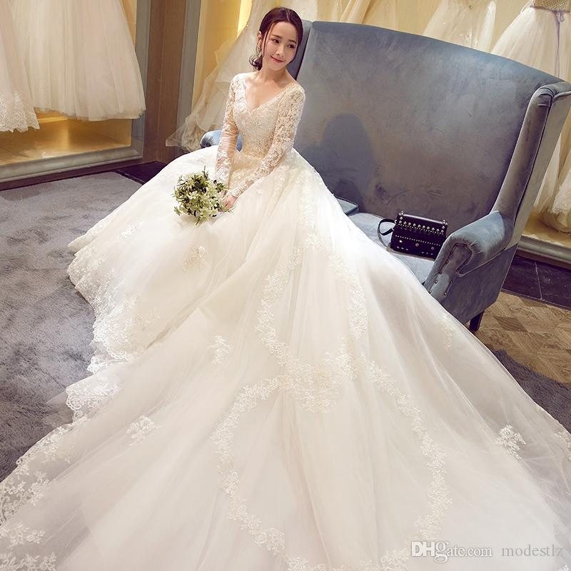 Wedding dress 2017 new spring and autumn a shoulder waist lace ...