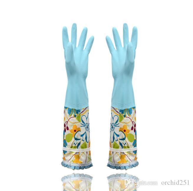 Extra Long Reusable Gloves Waterproof with Warm Lining Household for Kitchen Dish Washing Laundry Cleaning Gardening PVC Material