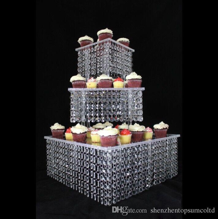 5セット/ロット3層アクリルカップケーキスタンドクリスタルケーキスタンドスクエアクリスマス結婚記念日誕生日パーティーディスプレイツール