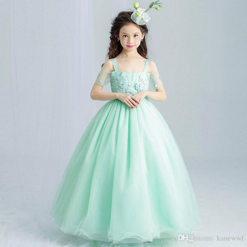 Menta verde elegante tulle tulle pizzo fiore ragazza vestito da sposa lunghezza della caviglia appliques perline bambini partito ballo ballo abito prima comunione abiti da comunione