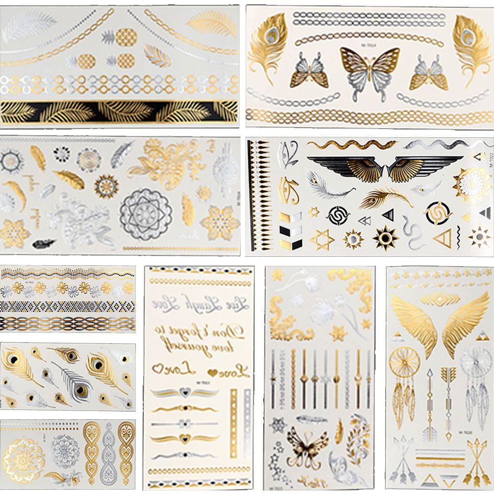 Flash caliente metálica impermeable tatuaje temporal Oro Plata Tatoo Mujeres Flor de la alheña Taty Diseño etiqueta engomada del tatuaje