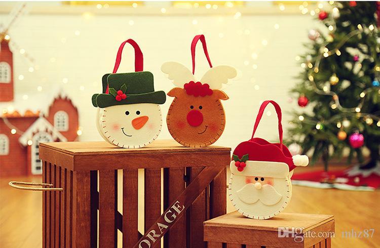 Sacos De Doces De Natal Do Ano Novo criativo Pendurado Sacos De Presente De Natal Papai Noel Boneco De Neve Elk Sacos De Doces Decoração De Natal