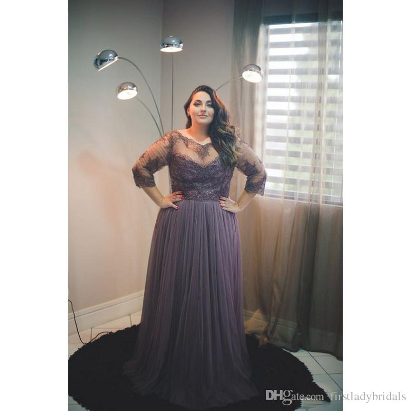 2017 Plus Size Evening Gowns Dresses With Sleeves A Line Tulle Appliques  Lace Sheer Big Gight Prom Dress For Fat Women Designer Plus Size Clothing  ...
