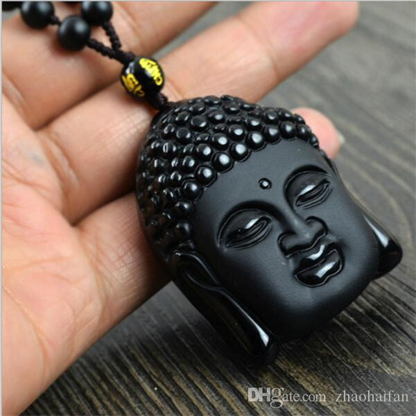 2017 Nouvelle Perle De Bouddha Naturel Obsidienne Scrub Collier Noir Rulai Tête Pendentifs Transhipped Bouddha Tête Collier