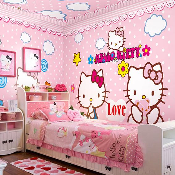 Wholesale HELLO Love Pink KITTY Cat 3d Cartoon Photo Murals For Baby Kids Girls