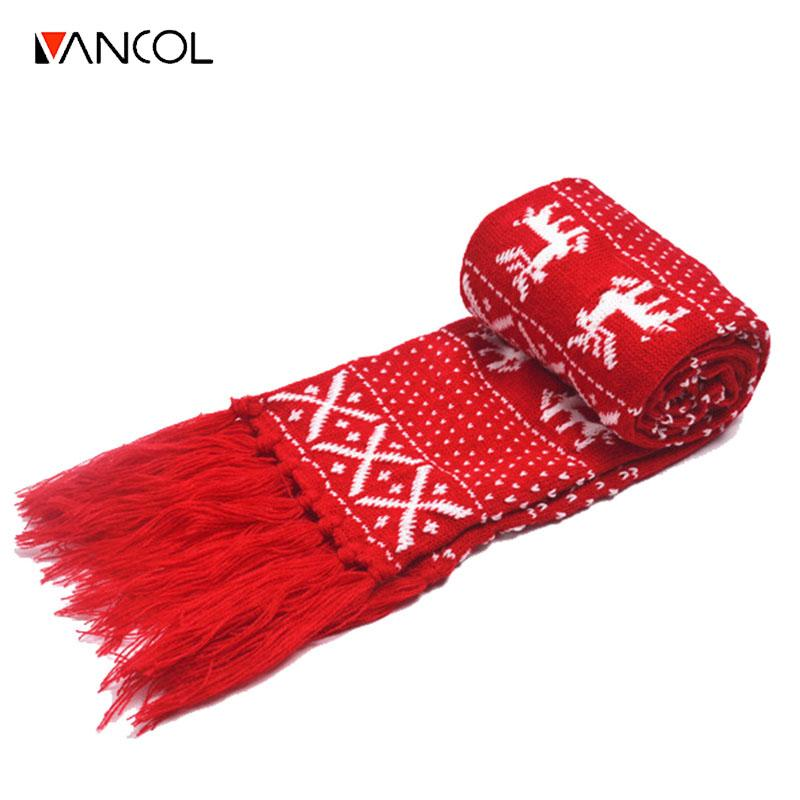 Christmas Scarf.Vancol Christmas Deer Knitted Wool Neck Warmer With Tassel Long Scarves Women Scarf Men Classic Red Black Couple Christmas Scarf Su Crochet Scarves