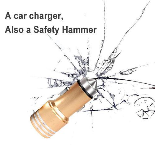 Cargador de coche Martillo de seguridad 2-en-1 Herramienta de emergencia Interruptor de la ventana Vida Escape Hammer 2.1A Cargador doble puerto USB Cargador para iphone samsung