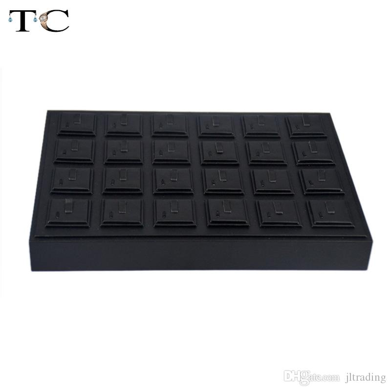 High-End Black PU Kunstleder Schmuck Display Tray für Ringe 35 * 25 cm Organizer Lagerung Ring Halter Fall Box Stand
