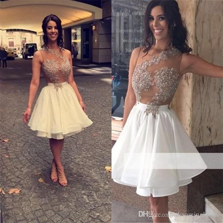 Sexy Keen Länge Homecoming Kleider Applique Falten Ärmeln Prom Kleider 2017 New Chiffon Jewel Neck Party Kleider