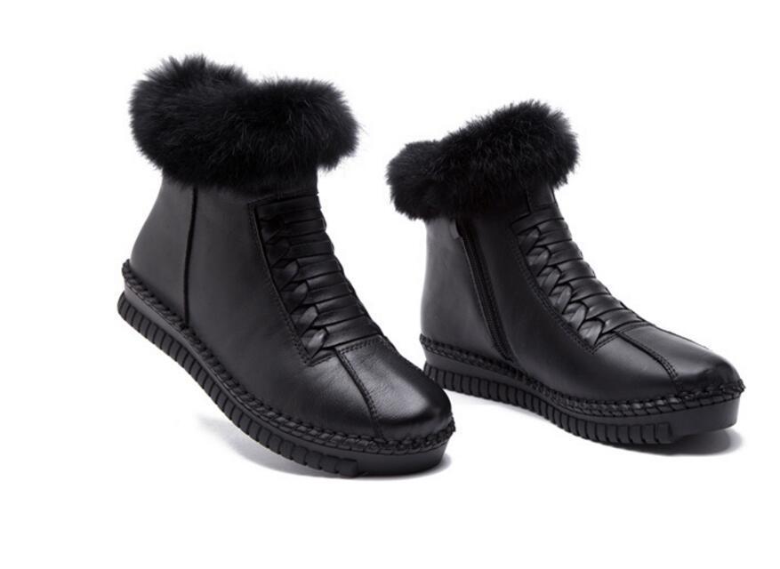 Venta caliente 2019 Nuevas botas de otoño e invierno Zapatos de moda con cremallera lateral hecha a mano de piel de conejo cuero genuino boors zapatos de mujer botas de nieve