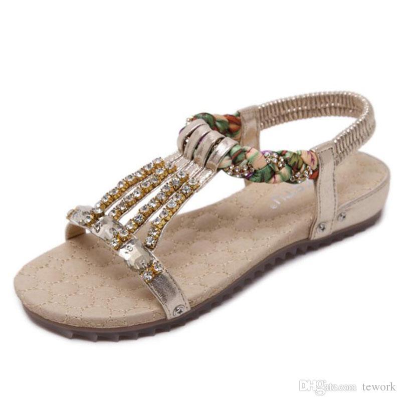 2017 лето новый женщины сандалии Богемия бисером Алмаз большой размер плоские сандалии нескользящей мягкий песок пляж женщины сандалии 40 41 42