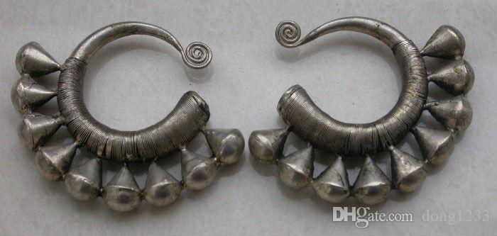 Orecchino d'argento di Miao fatto a mano cinese esotico esotici di vendita calda