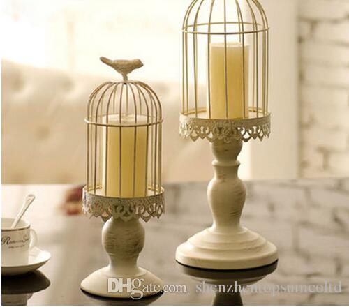 Lot de 2 Cage à oiseaux Porte-chandelier Porte-bougie TeaLight Titulaire Lanterne Porte-bougie Pièce maîtresse Maison Mariage Décoration