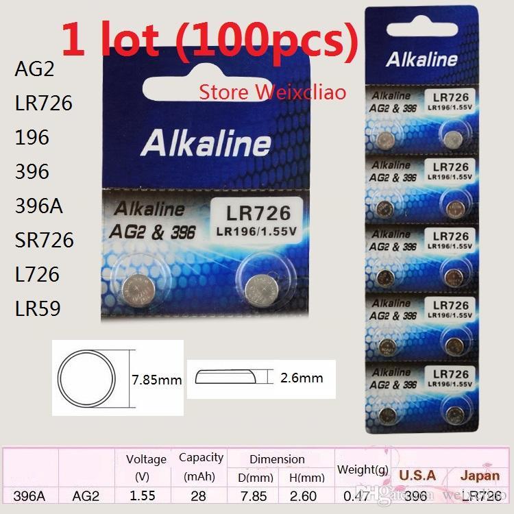 100 قطع 1 وحدة AG2 LR726 196 396 396A SR726 L726 LR59 1.55 فولت بطاريات زر خلية البطارية القلوية شحن مجاني