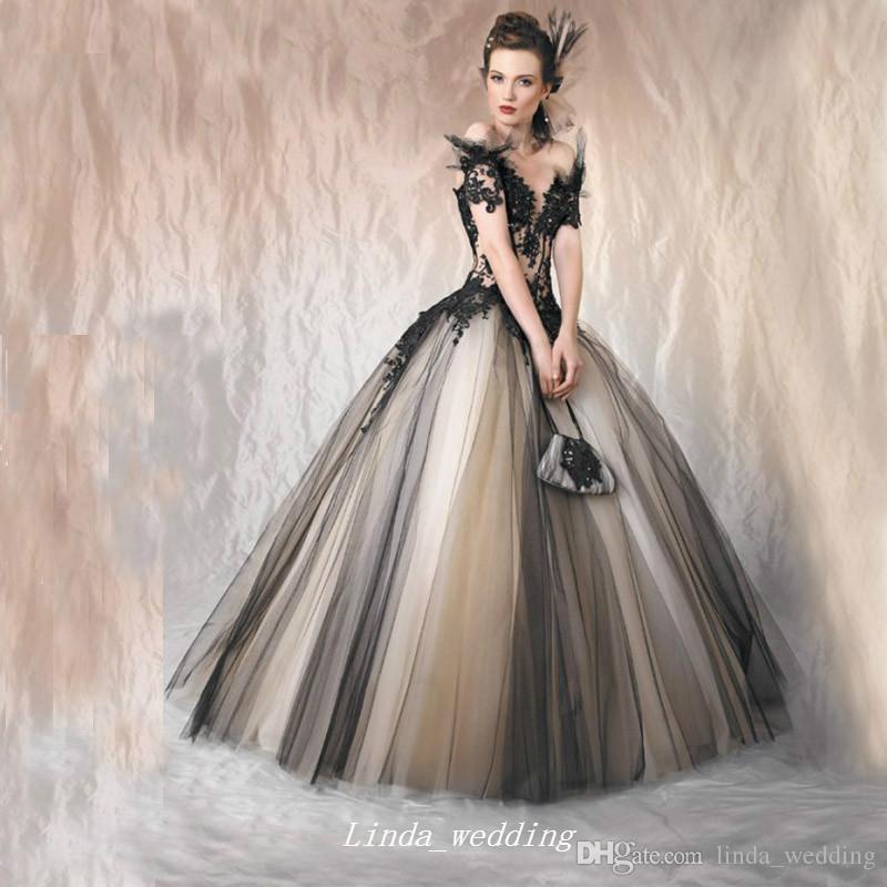 Robe de mariée gothique élégante élégante de haute qualité Nouveau design tulle applique femme robe de mariée plus grande taille