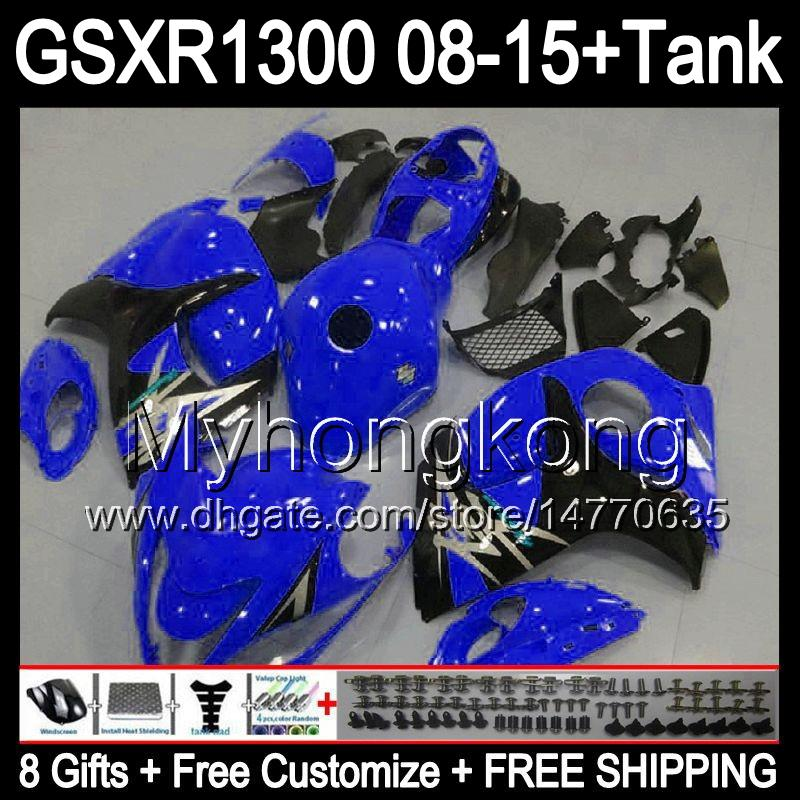 8gifts Para SUZUKI Hayabusa GSXR1300 2008 2009 2010 2011 14MY98 gloss azul GSXR-1300 GSX R1300 GSXR 1300 2012 2013 2014 2015 Carenagem preta