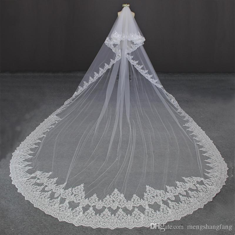 Luxury 5 Meters Lace Edge 2 Layers Bling Sequined Lace Wedding Veil With Comb 2 T Bridal Veil Wedding Accessories