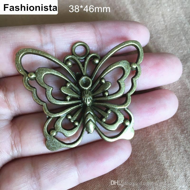 20 pcs Large Butterfly Pendant,38*46mm Antique Bronze Tone,Jewelry Link DIY Kits Fit Necklace & Bracelet,Jewelry Findings