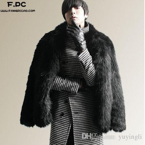 Siyah kişiselleştirilmiş sıcak faux fox kürk ceket erkek deri ceket erkekler kısa coat villus kış gevşek termal kalınlaşmak giyim 3XL