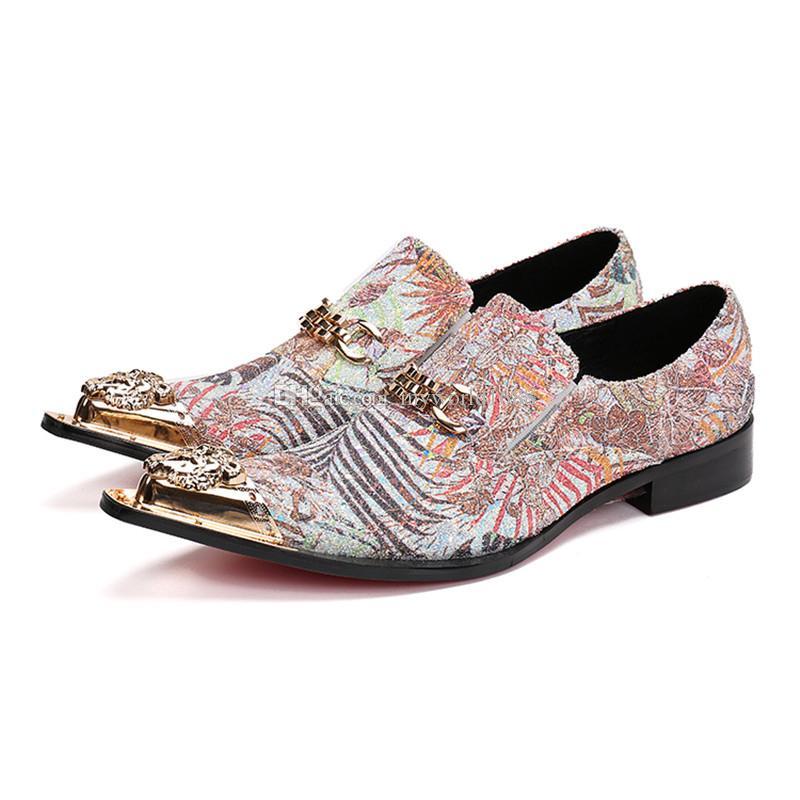 Роскошные Металл Toe платье Обувь мужская Золотая цепь Zapatillas Hombre Коренастый пятки Bling Свадьба