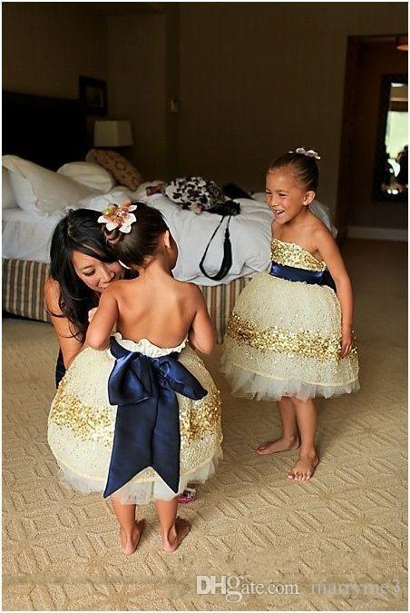 2017 sexy cute new arrival gold sequin ball gown navy blue sash bridesmaid dress Flower Girl Dresses girls pageant dresses
