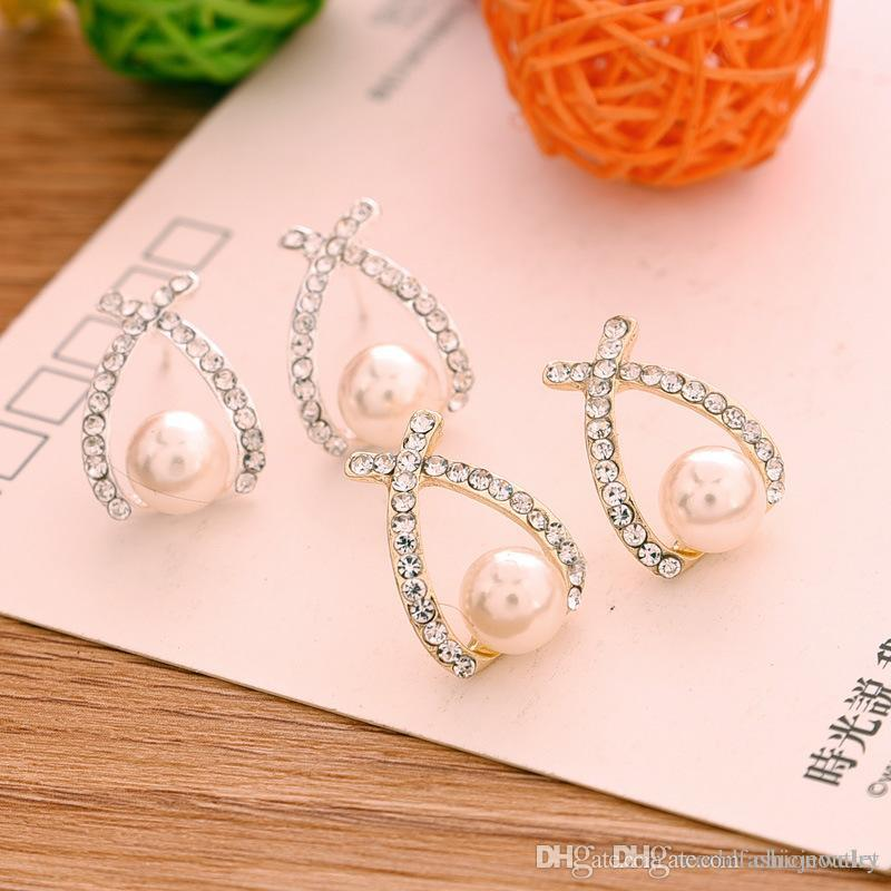 Neue Ohrstecker Gold / Silber Kristall Brincos Perle Pendientes Bou Perle Ohrringe Frau voll jewelled Perle Eardrop Earing Ohr Acc frei
