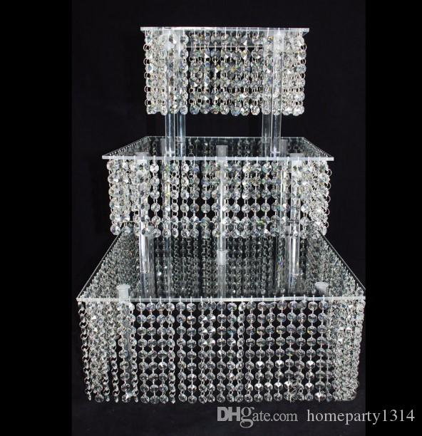 2017 New Year Crystal Acrylic Wedding Cake Stand Dessert Table Cake Rack Wedding Centerpiece Cupcake Stand 3 layer squre