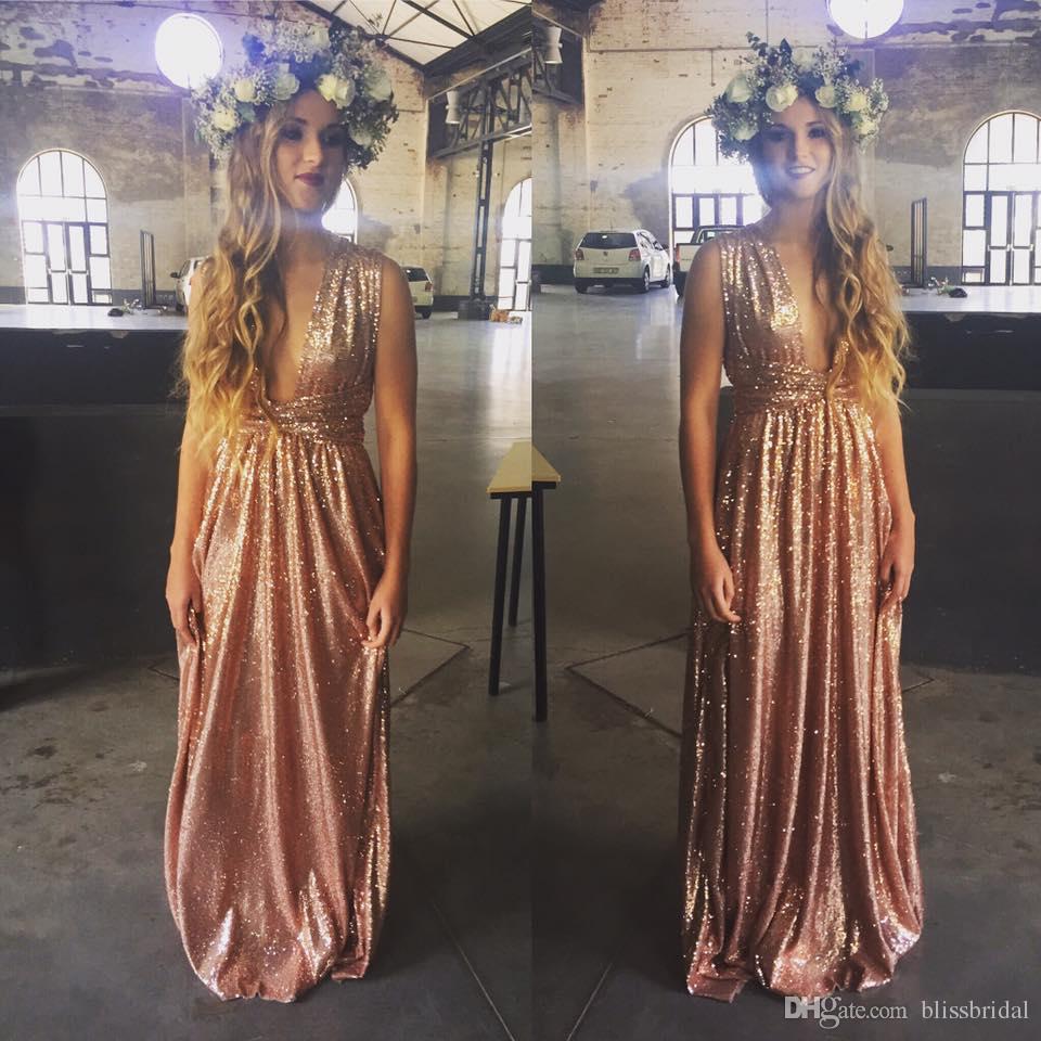 2017 heißer Verkauf V-Ausschnitt Pailletten Günstige Brautjungfernkleider Bling Bling Prom Party Kleid Gott A-line Bodenlangen Formale Abendkleider