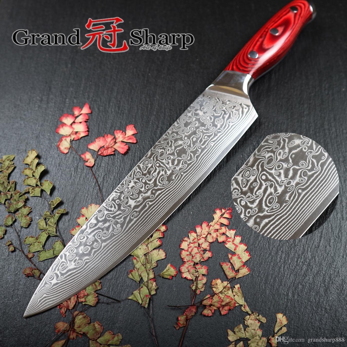 GRANDSHARP 67 Schichten Japanisches Damaststahl Damast Kochmesser 8 Zoll VG-10 Klinge Damast Küchenmesser Pakka Griff PRO