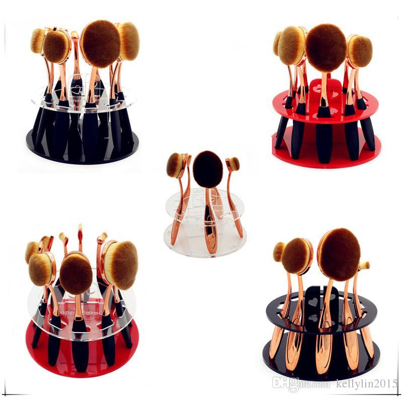 10pcs Toothbrush Oval Makeup Brushes Display Holder Stand Storage Organizer Brush Drying Rack Round Acrylic Cosmetic Organizer Tools