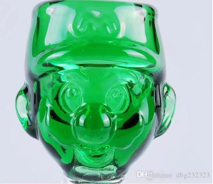 Cartoon green bubble glass bongs accessories  , Glass Smoking Pipes colorful mini multi-colors Hand Pipes Best Spoon glas