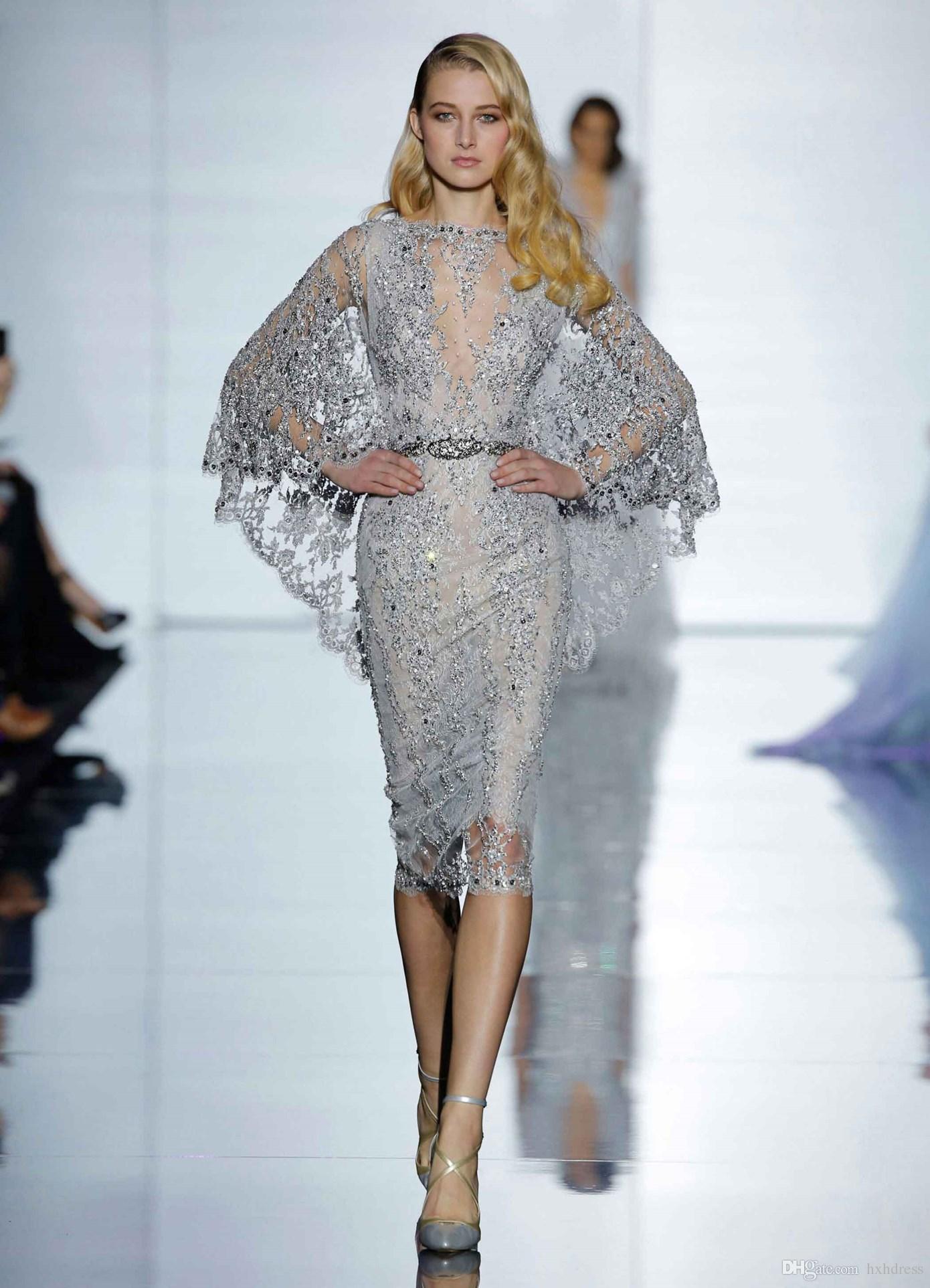 새로운 럭셔리 크리스탈 비즈 실버 이브닝 드레스 환상 레이스 시인 소매 정장 드레스 칵테일 드레스 (168)