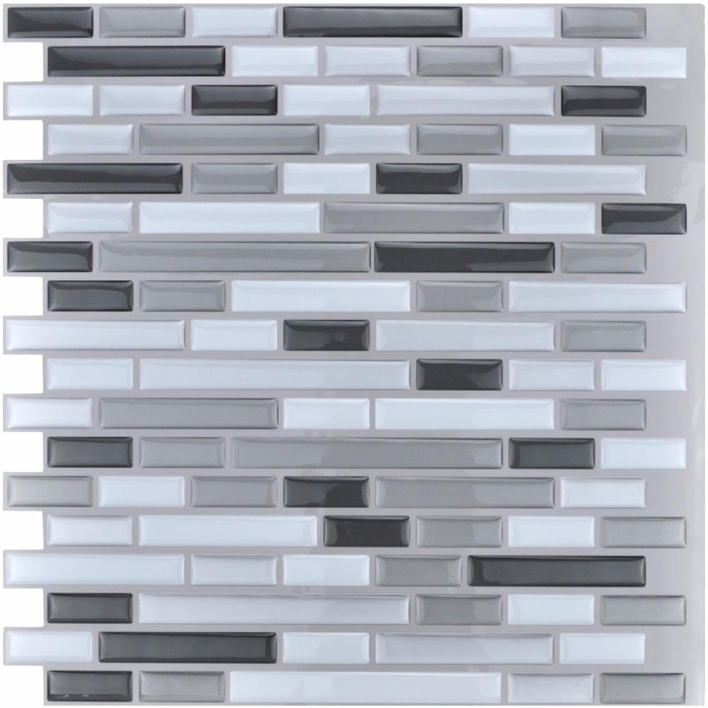 Wholesale- Peel and Stick Tiles Kitchen Backsplash Tiles 12''x12'' 3D Wall Stickers 6 Tiles/Pack Kitchen Wall Stickers