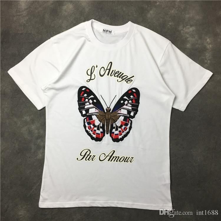 brand 2017 new t shirt man cotton Short sleeve fashion summer printing Casual o-neck Men T-shirt Embroidery butterfly pattern