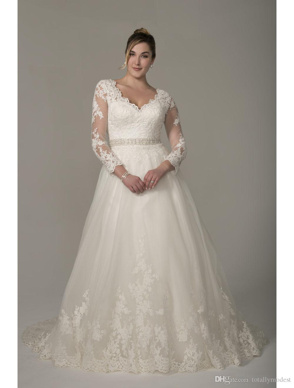 Discount Plus Size A Line Long Modest Wedding Dresses With Long Sleeves V  Neck Lace Appliques Sheer Sleeves Formal Bridal Gowns Full Figure Sale ...
