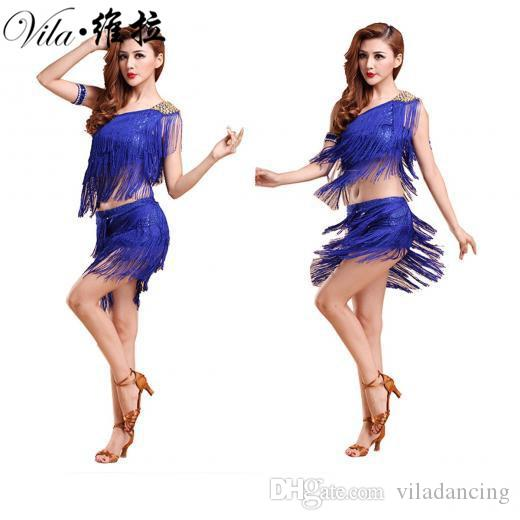 Sexy ballo latino costume salsa tango rumba Cha cha all'ingrosso Ballroom Dance Dress Mini Dress in vendita