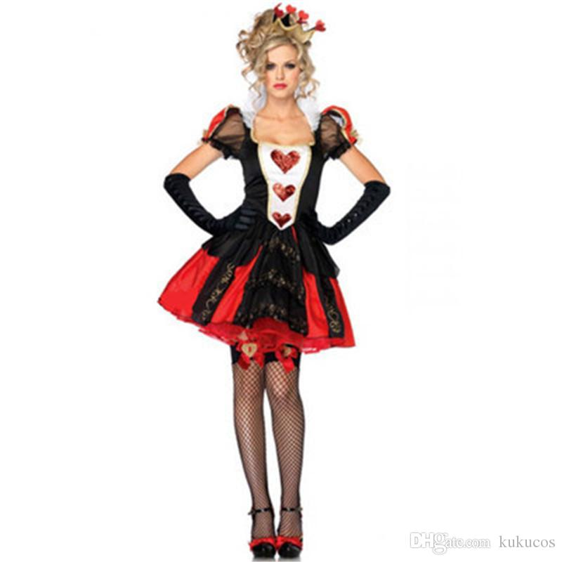 Kukucos Red Queen Of Hearts Cosplay Dress Women Fancy Dress Adult Cosplay Halloween Party Dress Up One Size Naruto Halloween Costumes Easy Cosplay