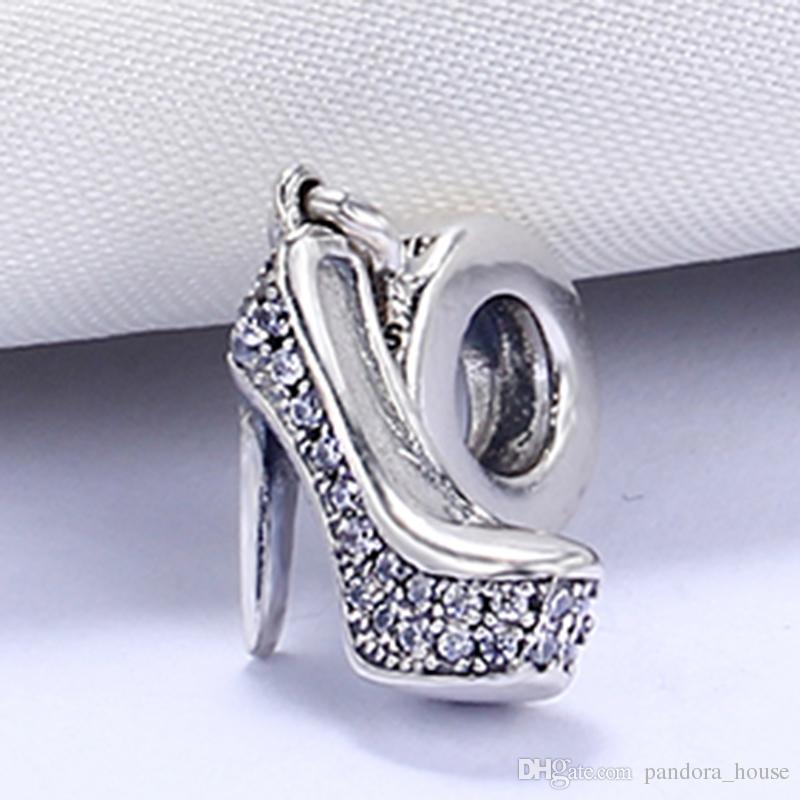 En gros 925 Sterling Silver Non Plaqué Chaussures À Talons Hauts Pendentif Charme Charmes Européens Perles Fit Pandora Serpent Chaîne Bracelet DIY Bijoux
