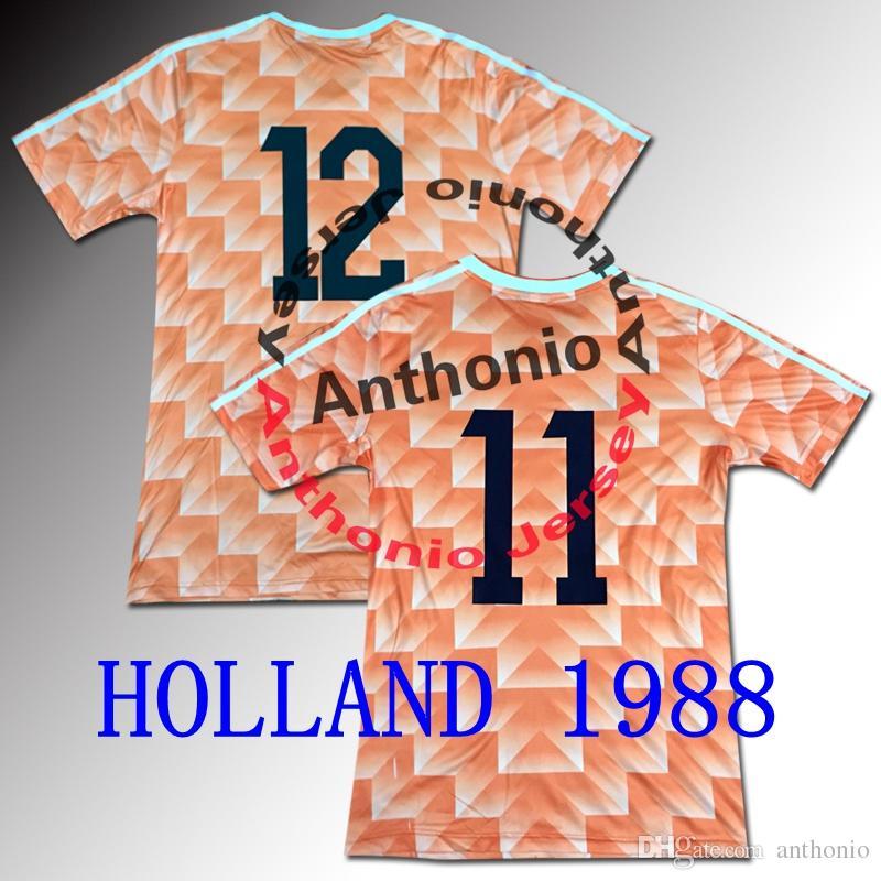 1988 네덜란드 레트로 축구 유니폼 밴 Basten 12 Gullit 10 Koeman 4 Cruyff 14 태국 품질 유니폼 축구 유니폼 셔츠 87/88 Camiseta Futbol Shirts de Size S-XXL