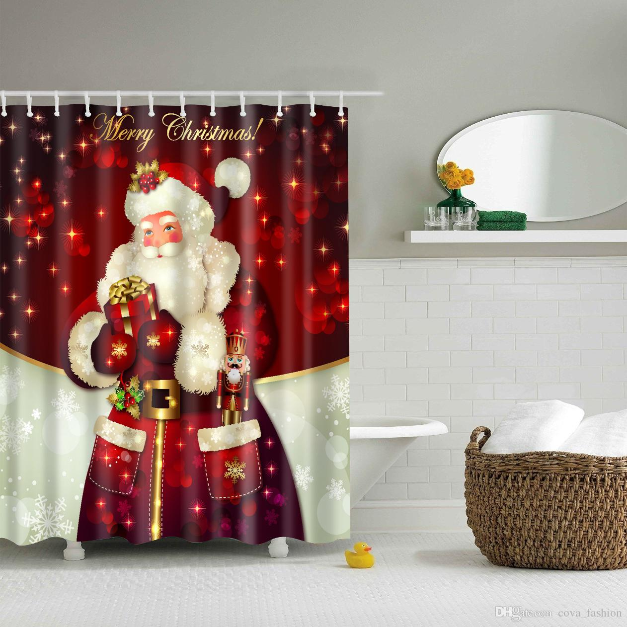 Christmas Bathroom Curtains.30 Styles Christmas Shower Curtains Snowman Santa Claus Designs Waterproof Polyester Bathroom Shower Curtains Bath Curtain Uk 2019 From Cova Fashion