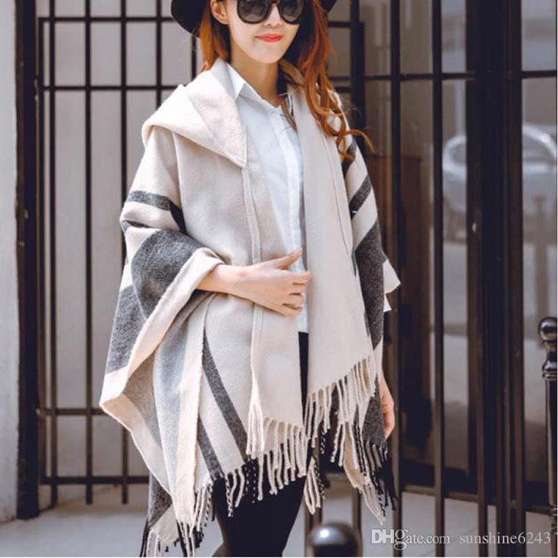 Women Warm Poncho Cape Shawl Ladies one Size Long Overcoat Cardigans Outerwear