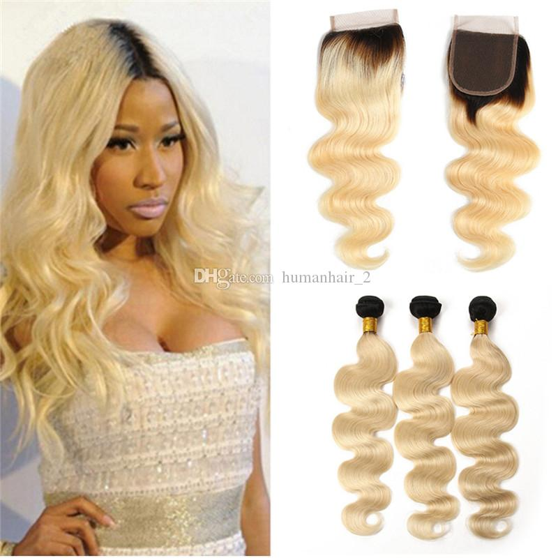 # 1B 613 표백 한 금발 Ombre Virign Hair 3Bundles with 레이스 클로저 Dark Roots Blonde Body Wave 인간의 머리카락 4 * 4 Closure 8A Grade