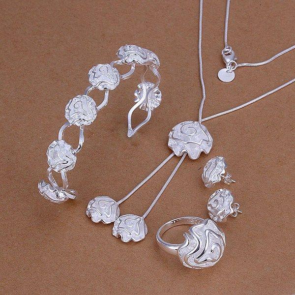 Hochzeitsrosen Sterling Silber Überzogene Schmuckset für Frauen ES246, Mode 925 Silber Halskette Armband Ohrring Ring Set