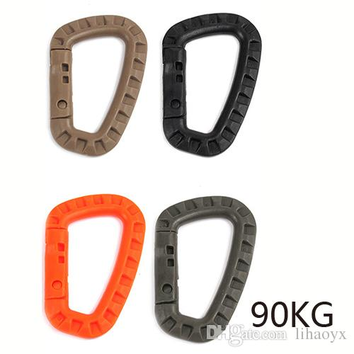 Plastic Carabiner D Ring Key Chain Clip Hook Outdoor Camping Buckle Snap Orange