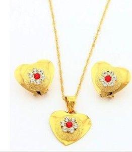 wonderful yellow gold filled heart pendant women's set necklace earings (sp3658) xgyujty